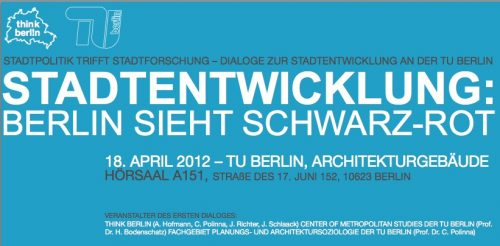Auftakt der Dialogreihe Stadtpolitik trifft Stadtforschung am 18. April 2012