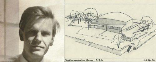 Der Architekt Siegfried Wolske und eine Zeichnung der Beethovenhalle aus seiner Hand (1957)