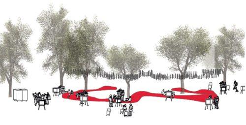 Abb.: Endlos Sitzen: Der 112m lange, mobile Sitzsack der Urbanauten