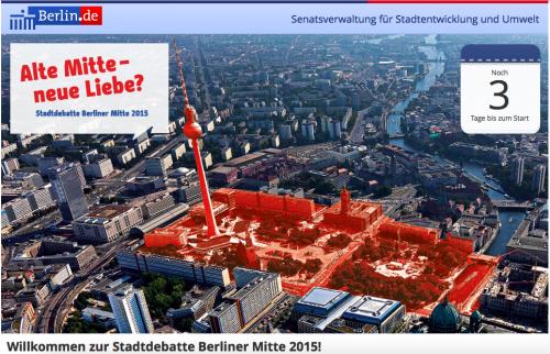 Die Internetseite zum Dialogprozess Alte Mitte - neue Liebe? findet man unter stadtdebatte.berlin.de
