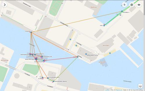 Freifunk-Nodes wie hier im Hamburger Hafen sprechen miteinander.
