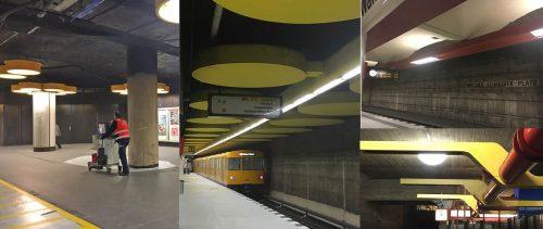 Die Bahnhöfe Rathaus Steglitz (Zwischengeschoss und Bahnsteig), Walther-Schreiber-Platz und Schlossstraße (v.l.n.r. im Uhrzeigersinn) nach der Entkernung, Zustand 12.9.2016. Die Originalgestaltung ist nur in Bruchteilen erhalten, die Entwürfe für die Neugestaltung sind nicht bekannt.