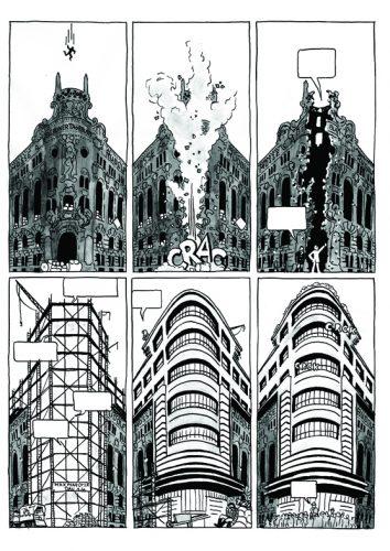 Abb.: Mossehaus (Schützenstraße,/ Jerusalemer Straße) aus dem Comic-Projekt des Autors der Rezension. Hier wurde Lyonel Feininger gedruckt. In Weiss: Erich Mendelsohn