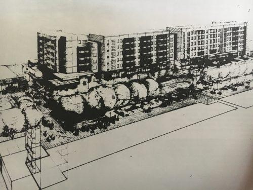Blick in die Fußgängerzone Kastanienallee, Hellersdorf, 1987. (Zeichnung: Christian Bonitz)