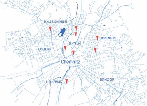 Karte mit Lage der kostenfreien Räume, die im Rahmen des Programms zur Verfügung gestellt werden.
