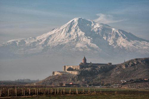 Kloster Chor Virap vor dem heiligen Berg Aragat